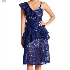 Alice olivia blue lace dress